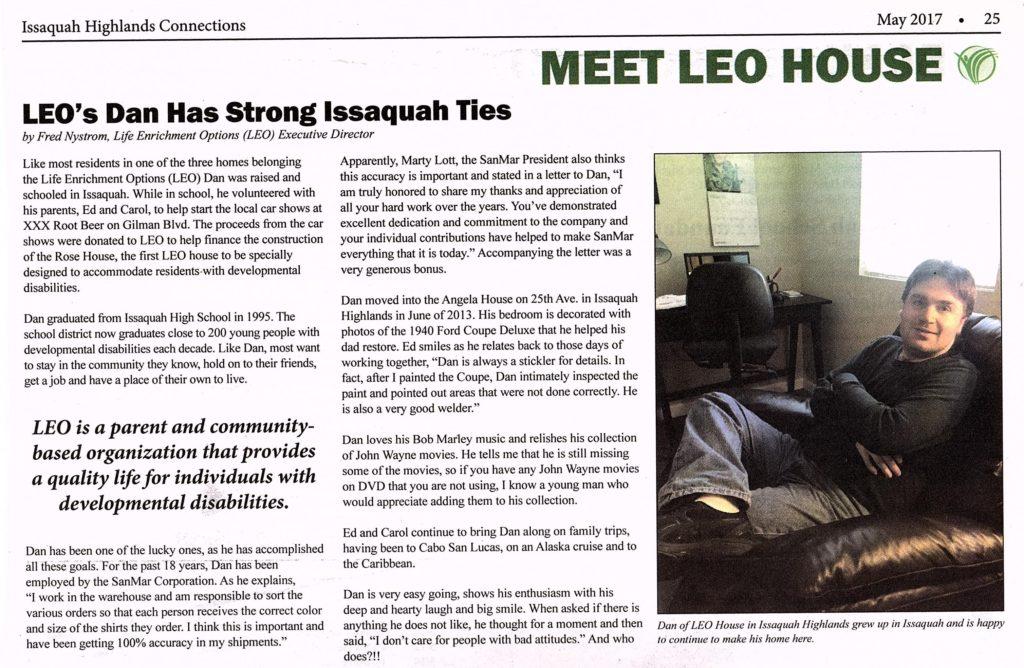 LEO's Dan has Strong Issaquah Ties – Life Enrichment Options™